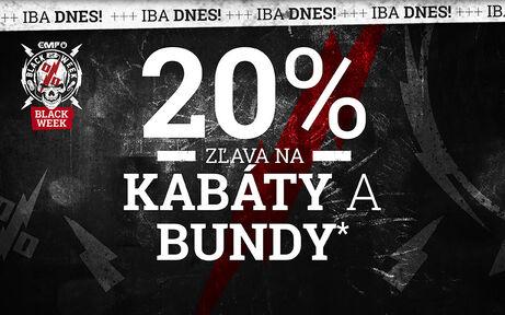 20% ZĽAVA NA KABÁTY A BUNDY