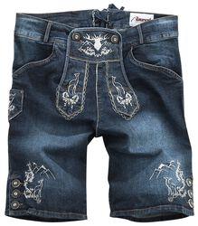 Krátke džínsové tradičné nemecké nohavice