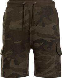Teplákové kapsáčové šortky s kamufláž vzorom