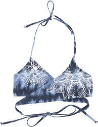 Modro/biela plavková podprsenka s batikou a potlačou