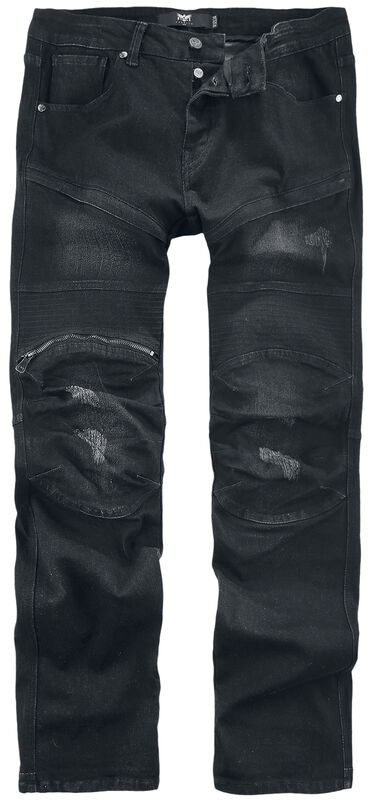 Pete Black Biker-Look Jeans