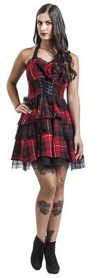 Gotické šaty s červeným károvaným vzorom