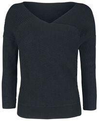 Pletený sveter s asymetrickým predným dielom