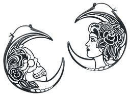 Kruhové náušnice Skull Head Couple