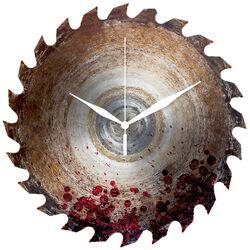 Sklenené nástenné hodiny Nástenné hodiny v tvare pílového kotúča postriekaného krvou
