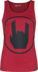 Červený top s potlačou s logom EMP