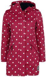 Červená softshellová dievčenská bunda s bielymi bodkami