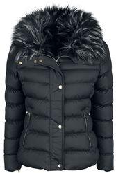 Krátky prešívaný kabát s kožušinovým golierom