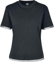 Dámske tričko s čipkovanými lemami