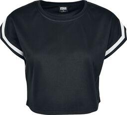 Dámske krátke tričko so sieťovinou, prúžkami a strihom rozšíreným cez ramená