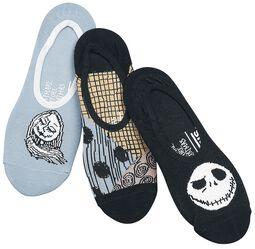 Sada 3 párov ponožiek (veľkosť EU 31,5 - 36) Sally a Jack Canoodles (Disney) Nightmare Before Christmas