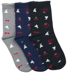 Balenie 3 párov ponožiek Cherry Logos & Cats