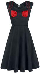 Čierne šaty Lady Hepburn s červenou mašľou