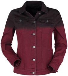 Červená denimová bunda s farebným prechodom