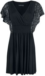 Black dress with shiny silver print on the sleeves