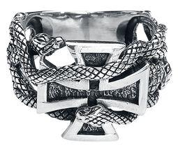 Prsteň so železným krížom a hadmi