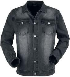 Tmavosivá bunda s náprsnými vreckami a zapínaním na gombíky