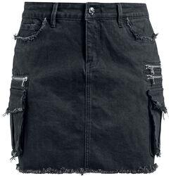 Čierna denimová sukňa s vreckami Rock Rebel