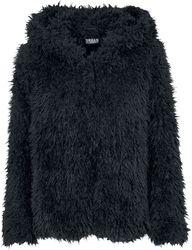 Dámska plyšová bunda s kapucňou