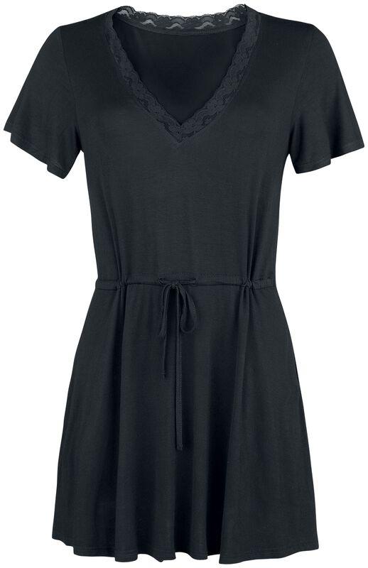 Krátke čipkované šaty bez rukávov s uzlom na prednej strane