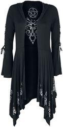 Čierny kardigán Gothicana X Anne Stokes s kapucňou, šnurovaním a rozšírenými rukávmi