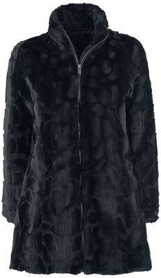 Kabát s imitáciou kožušiny