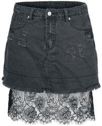 Denimová sukňa s čipkou