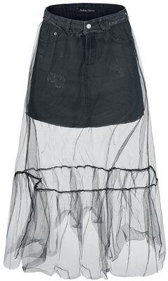 Denimová sukňa s tylom