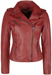 Červená kožená motorkárska bunda