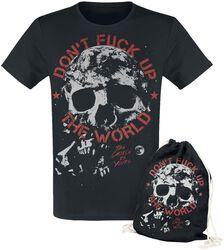Čierne tričko s potlačou Don't Fuck Up The World