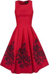 Swingové šaty s vyšívanými ružami Annie
