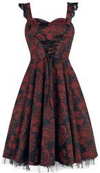 Červené dlhé gotické šaty Marie Antoinette