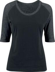 Kontrastné dámske tričko s 3/4 rukávmi