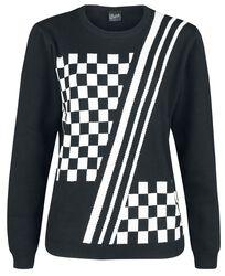 Kockovaný pletený sveter