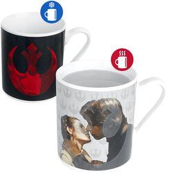 Hrnček Princess Leia & Han Solo s potlačou, ktorá sa pood vplyvom tepla mení