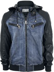 Hooded Denim Leatherlook Jacket