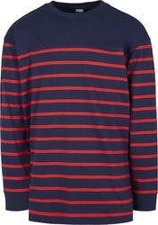 Prúžkované tričko s dlhými rukávmi Color Block Boxy