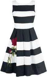 Prúžkované dvojfarebné šaty Aurora s vyšitou ružou