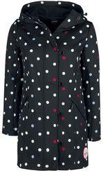 Čierna softshellová dievčenská bunda s bielymi bodkami