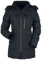 Čierna zimná bunda s prešívaním a kapucňou