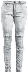 Svetlosivé džínsy s motorkárskym prešívaním