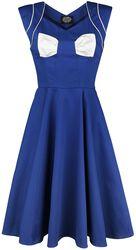 Modré šaty Lady Hepburn s bielou mašľou
