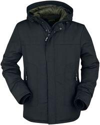 Prechodná bunda s farebnou podšívkou na kapucni