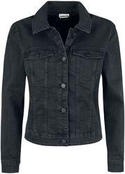 Čierna denimová bunda s ošúchaným efektom Debra