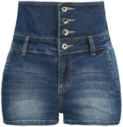 Denimové šortky s vysokým pásom
