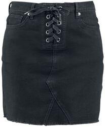 Denimová sukňa s 5 vreckami a uzlom na prednej strane