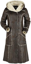 Hnedý koženkový kabát s neukončenými švami