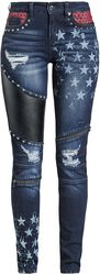 Skarlett - Tmavomodré džínsy s potlačami a detailmi