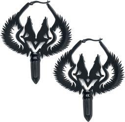 Pár kruhových náušníc Winged Wolves