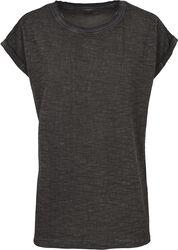Dámske tričko so sprejovým efektom a strihom rozšíreným cez plecia